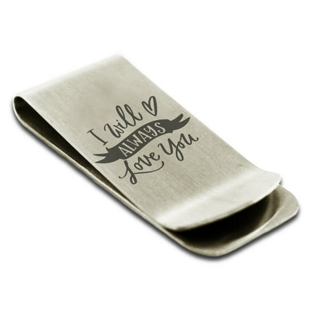 Stainless Steel I Will Always Love You Engraved Money Clip Credit Card - Diy Money Clip