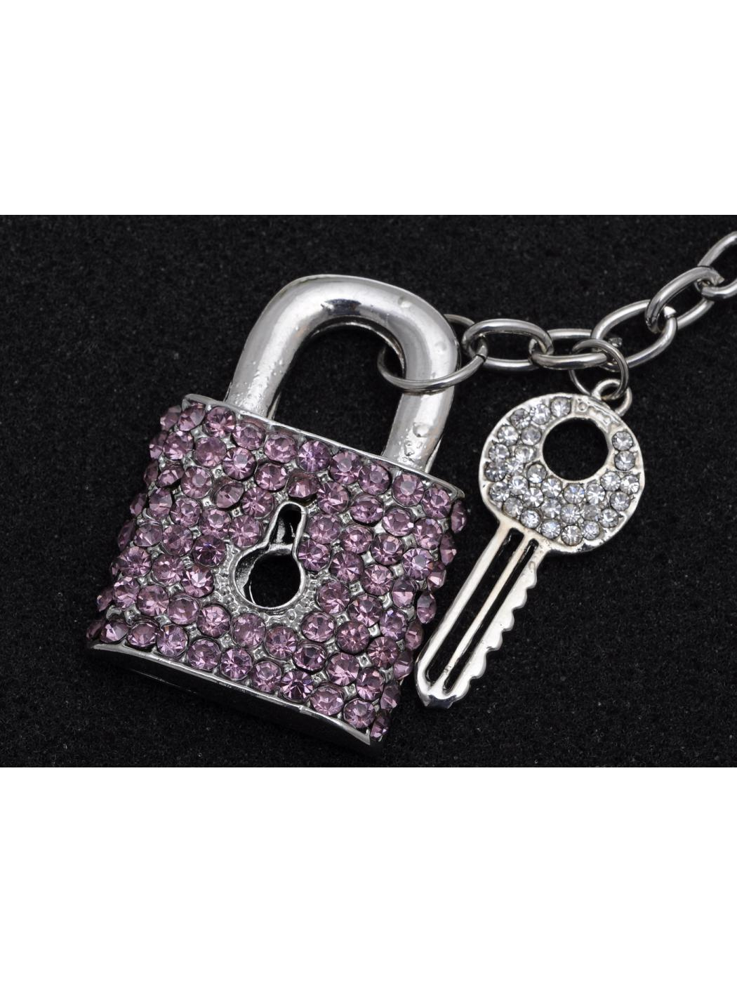 Silver Tone Rose Pink Crystal Rhinestone Deadbolt Key Locket Hook Clip Keychain