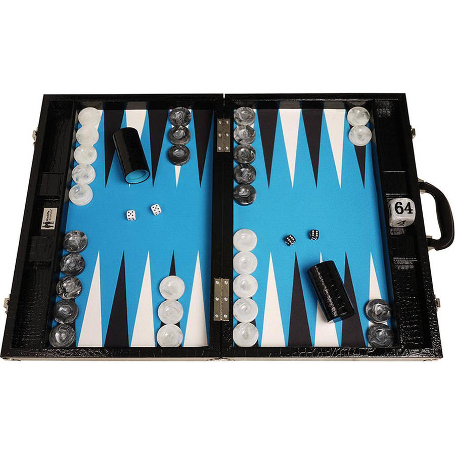 Wycliffe Brothers Tournament Backgammon Set, Black Croco with Blue Field, Gen III by Wycliffe Brothers