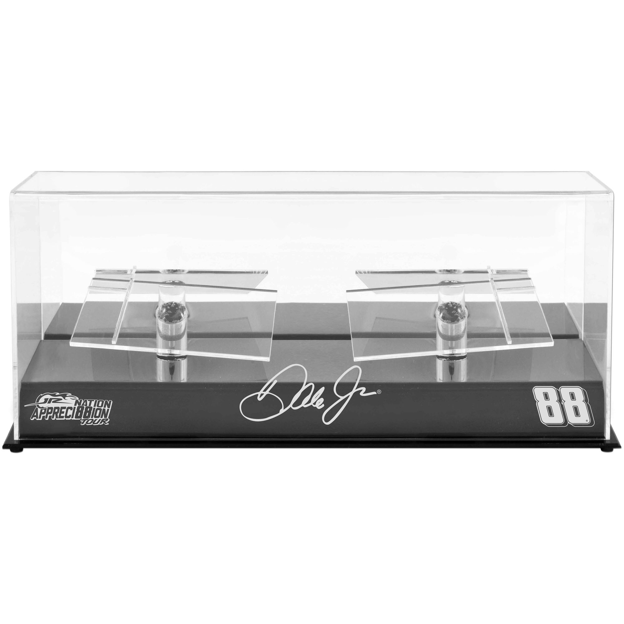 Dale Earnhardt Jr. #88 Hendrick Motorsports 2 Car 1/24 Scale Die Cast Display Case with Platforms and JR Nation Appreci88ion Logo