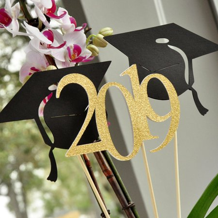 Graduation Table Decorations. (1 Single 2019 Stick and 2 Single Graduation Cap Sticks).  Handcrafted in 1-3 Business Days. Black and Gold Graduation Centerpieces for Tables.