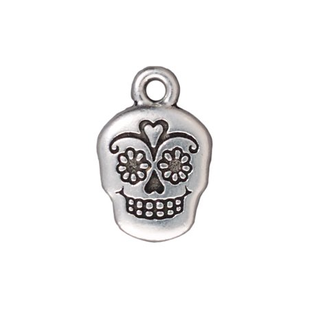 Silver Plated Pewter Dia De Los Muertos Sugar Skull Pendant Charm 19mm (1)