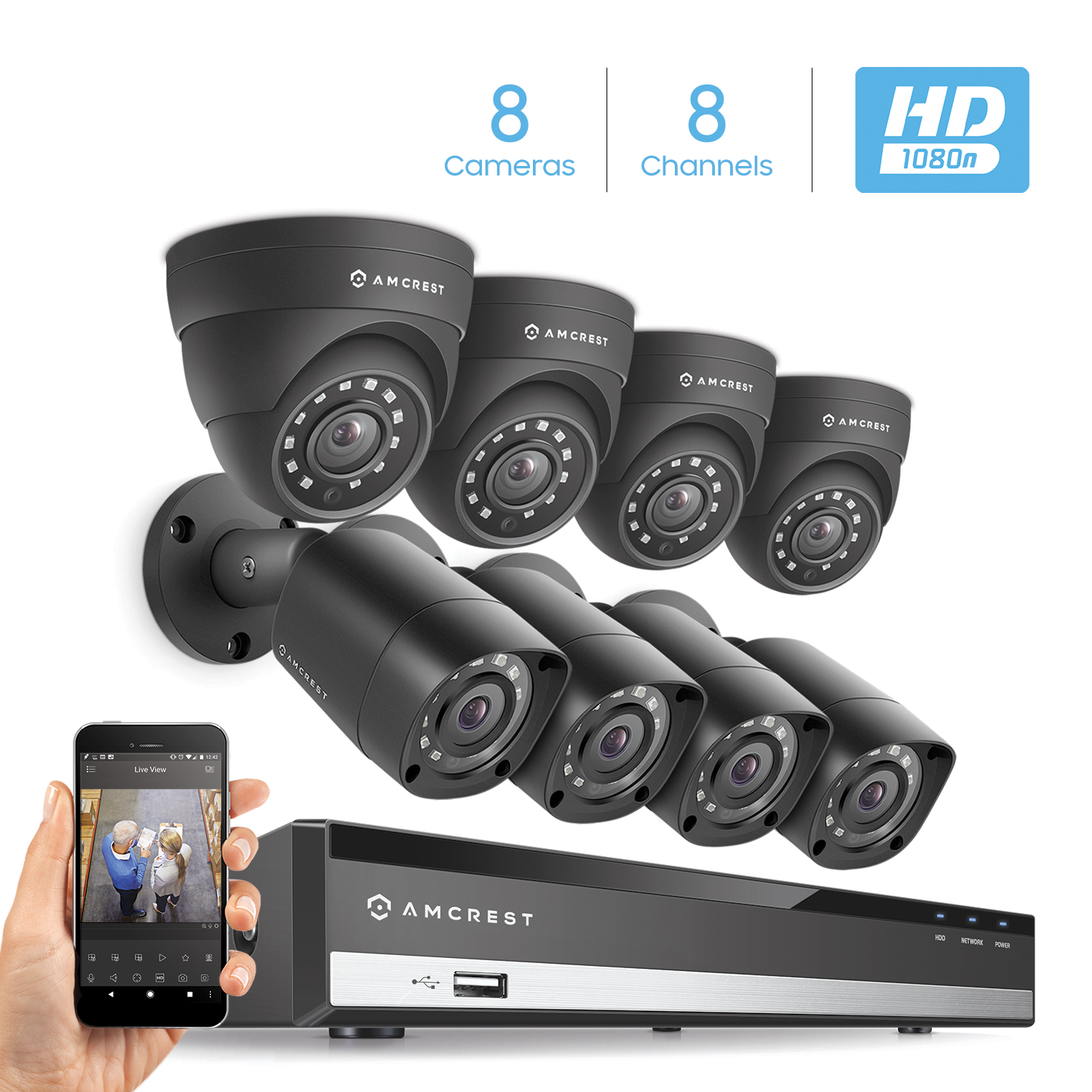 Amcrest HD 1080-Lite 8CH Video Security System w/ Eight 1.0 Megapixel IP67 Outdoor Bullet & Dome Cameras, 65ft Night Vision, Hard Drive Not Included, (AMDVTENL8-4B4D-B)