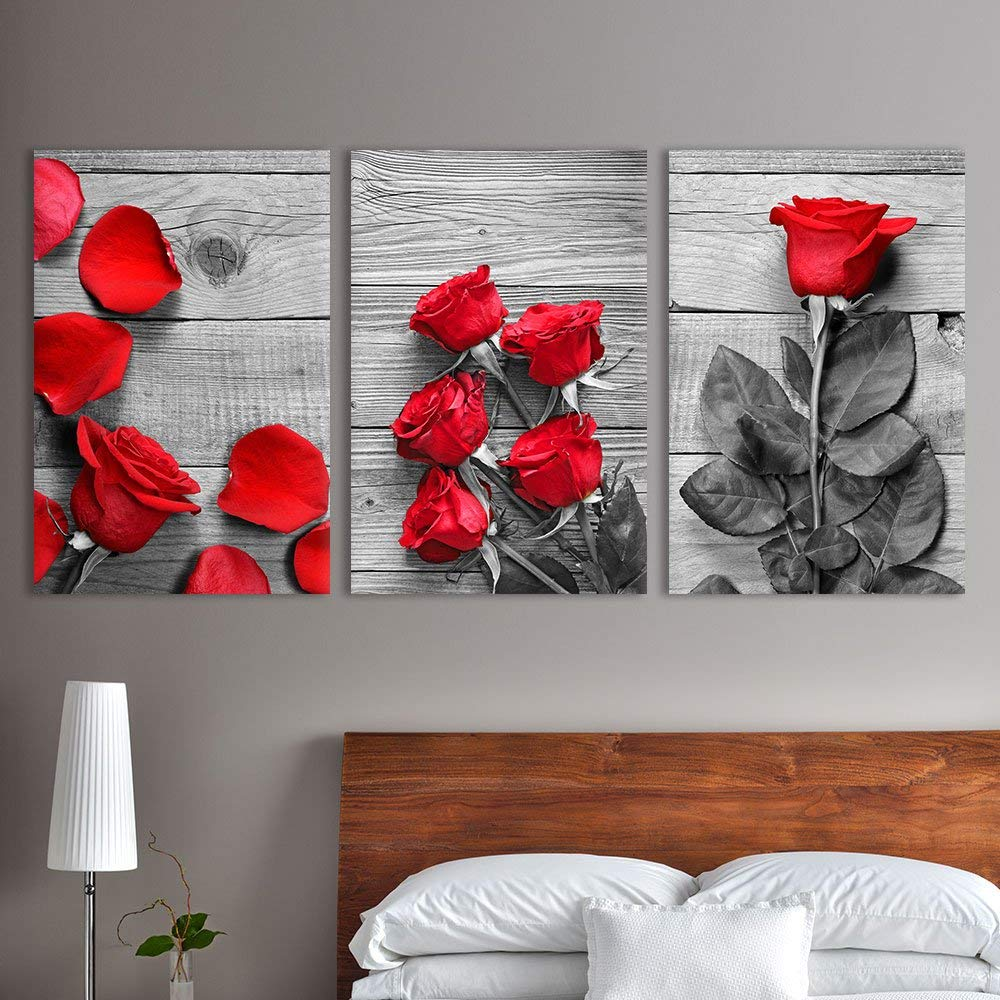 wall26 3 Panel Canvas Wall Art - Black and White Roses ...