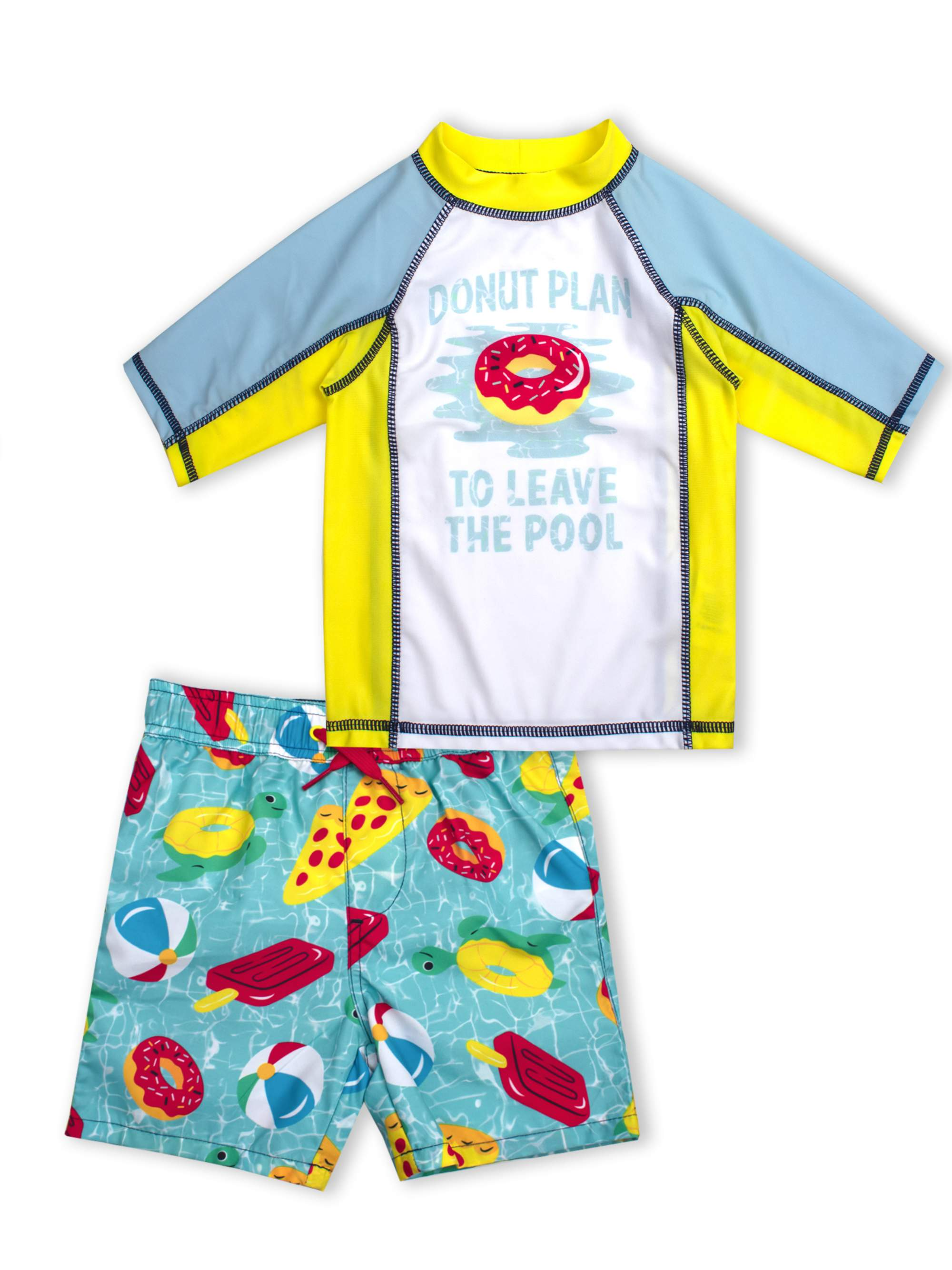 Donut Print Rash Guard and Swim Trunk, 2-Piece Outfit Set (Little Boys)