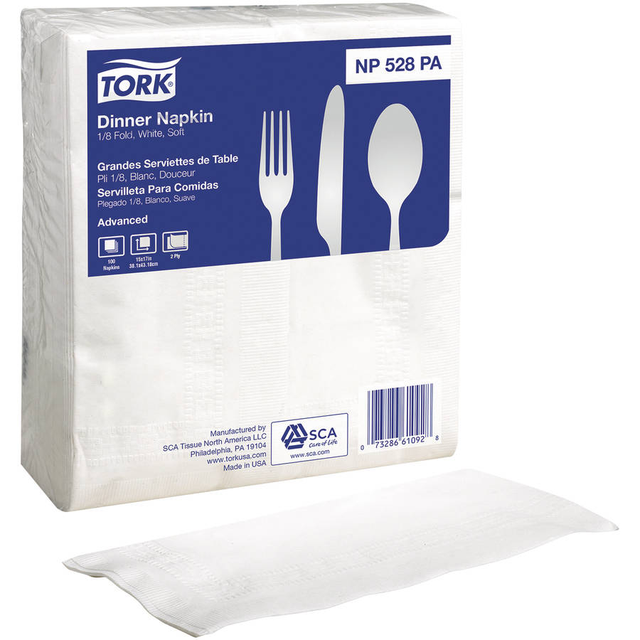 Tork Advanced White Dinner Napkins, 100 count
