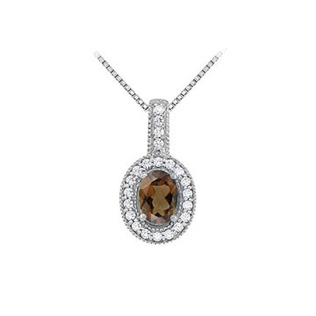Fancy Oval Smoky Quartz and Cubic Zirconia Halo Pendant in Sterling Silver - image 1 of 2