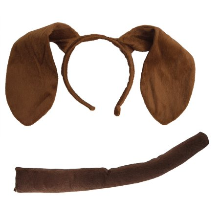 Animal Dog Long Brown Ears Headband Adult Child Puppy Pooch Costume - 4 Kids Adult Costume
