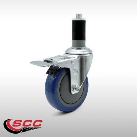 Service Caster 4 x 1 25 Stainless Steel Blue Polyurethane Wheel Swive