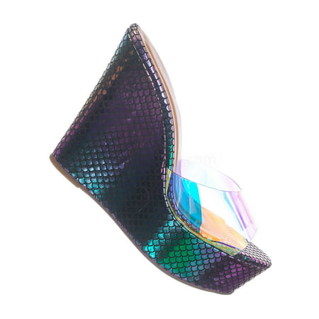 Choice40 by 7, Lucite Clear Platform Wedge Sandal - Cork & Hologram Snake 7 Clear Platform Sandal