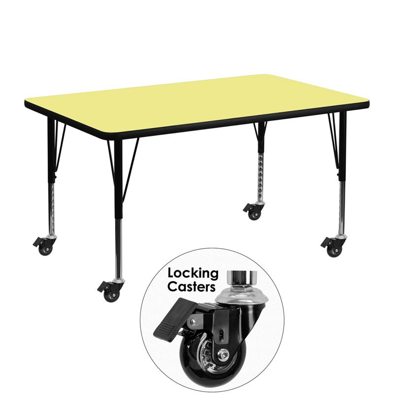 Mobile 30''W x 48''L Rectangular Yellow Thermal Laminate Activity Table - Height Adjustable Short Legs