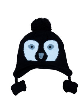 CP Infant Boys & Girls Black Knit Penguin Peruvian Trapper Hat 6-12 Months