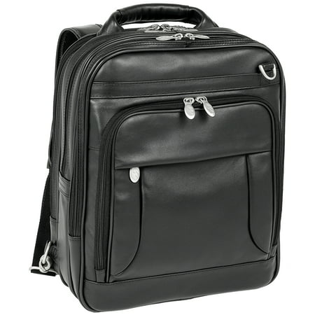 Top Grain Napa Leather - McKlein LINCOLN PARK, Three-Way Backpack Laptop Briefcase, Full Grain Cashmere Napa Leather, Black (41655)