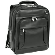 McKlein LINCOLN PARK, Three-Way Backpack Laptop Briefcase, Full Grain Cashmere Napa Leather, Black (41655)