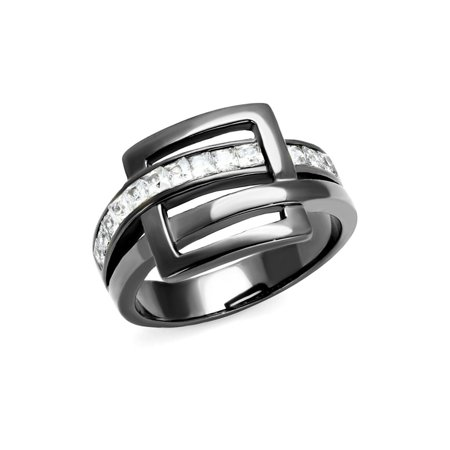 (13 mm Square Buckle style ring designer fashion Princess cut Stainless Steel)