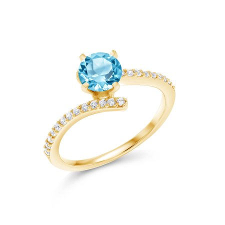 1.26 Ct Round Swiss Blue Topaz 18K Yellow Gold Plated Silver Ring 18k Yellow Gold Swiss