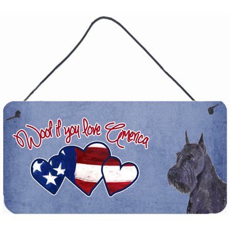 Woof if you love America Black Schnauzer Wall or Door Hanging Prints SS5034DS612