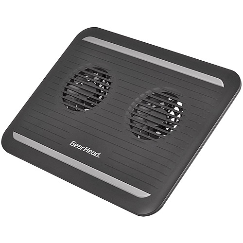 "Gear Head 17"" Dual-Cool Notebook Cooling Pad, Black"