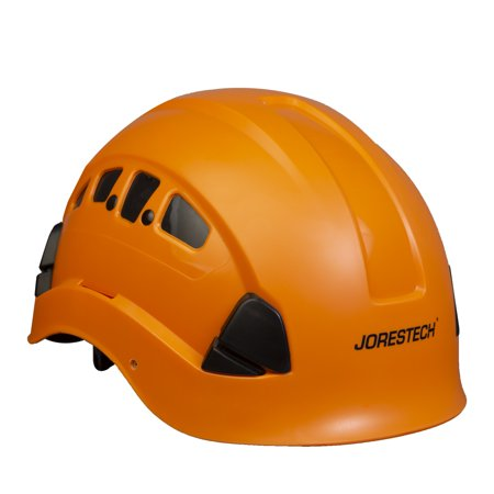 PPE By JORESTECH® - ABS Work-At-Height and Rescue Hard Hat Slotted Ventilated Helmet w/ Adjustable Ratchet 6-Point Suspension Meets ANSI Z89.1-14 For Work, Home & General Headwear Protection (ORANGE) for $<!---->