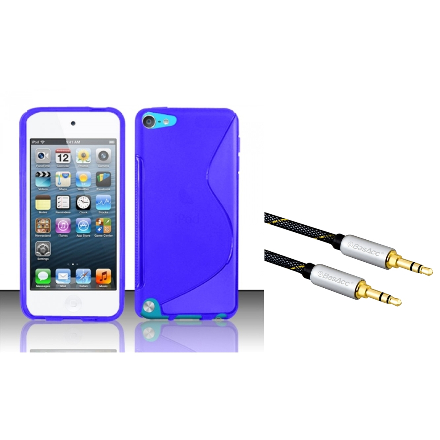 Insten Blue S Shape TPU Soft Gel Skin Case Cover For Apple iPod Touch 6 6th 5 5th Gen (with 3.5mm Audio Extension Cable)