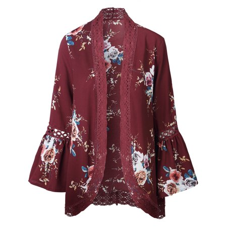 1b8ae7521a DYMADE - JustVH Women s 3 4 Bell Sleeve Boho Floral Kimono Cardigan Cover  up Lace Stitching Blouse Top - Walmart.com