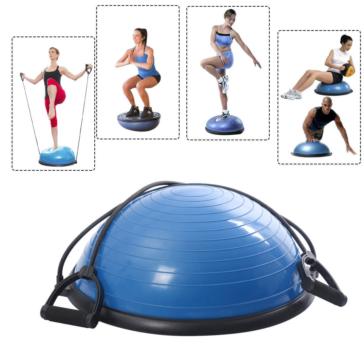 Ktaxon Fitness Blue Yoga Stability Balance Trainer Ball with Resistance Bands and Pump Exercise Workout Kit