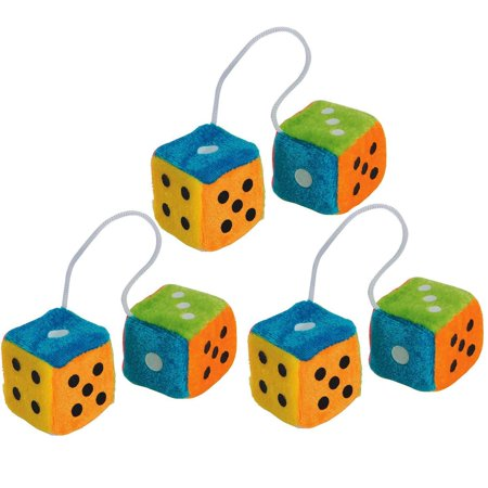 Plush Fuzzy Dice (Mini Hanging Fuzzy Dice With Dots 1.75 Inches - 3 Pairs – Colorful Neon Plush Dice Toys - Fuzzy Dice For Car – For Kids And Adults, Great Party Favors,)