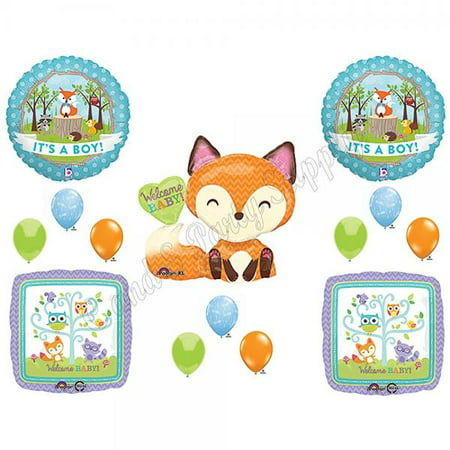 It's A Boy Woodland Friends Baby Shower Balloons Decoration Supplies Fox Chevron by Anagram - Baby Boy Shower Plates