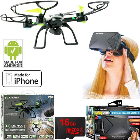 Xtreme Ready-To-Fly 2.4Ghz 6 Axis Gyro Aerial Quadcopter Drone with Camera (05461) with Bundle Includes VR Vue Virtual Reality Viewer for Smartphones + 16GB MicroSD Memory