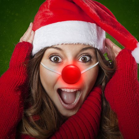 Light Up Red Nose (12 Pack Light up Red Clown Nose Circus Clown Costume Accessory Carnival Rudolph)