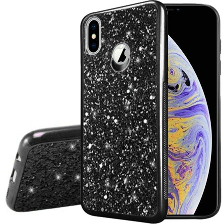 iPhone X Case iPhone XS Case by Insten Frozen Glitter Hard Snap-in Chrome Case Cover For Apple iPhone X/XS