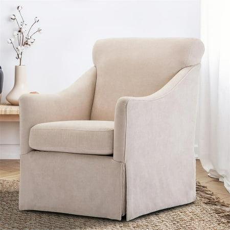 Georgia Shell Fabric Skirted Swivel Chair