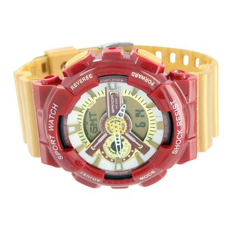 Sports Watch Men Red Gold Shock Resistant Iron Man Special Edition Digital-Ana