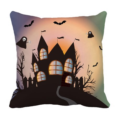 YKCG Happy Halloween Funny Ghost Fantasy Castle Black Tree Pillowcase Pillow Cushion Case Cover Twin Sides 18x18 inches