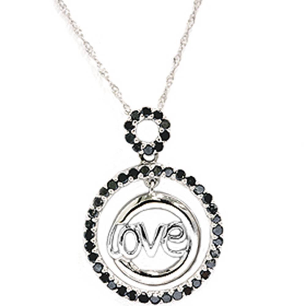 GENUINE 1/2ct Black Diamond Solid 10 Karat White Gold Love Pendant Necklace - image 1 de 1
