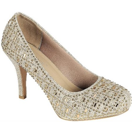 Angelina Bridal Shoes - Riley-78 Women Party Prom Bridal Wedding Rhinestone Low Heel Pump Shoe Gold