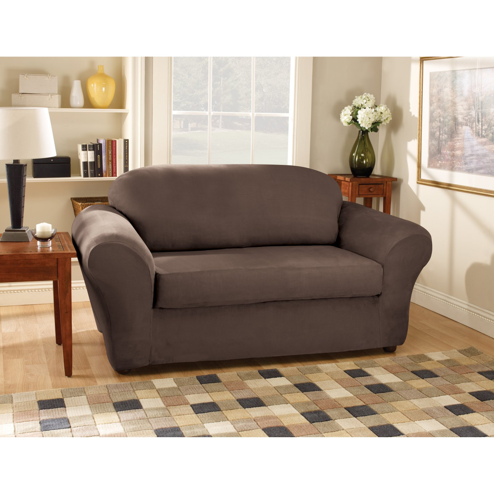 Sure Fit Suede Loveseat Stretchable Slipcovers Walmart