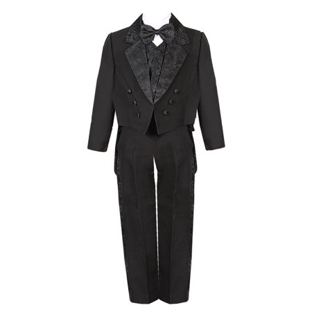 Little Boys Black 5 Piece Vest Pants Tail Jacket Jacquard Tuxedo Suit - Tail Tuxedo