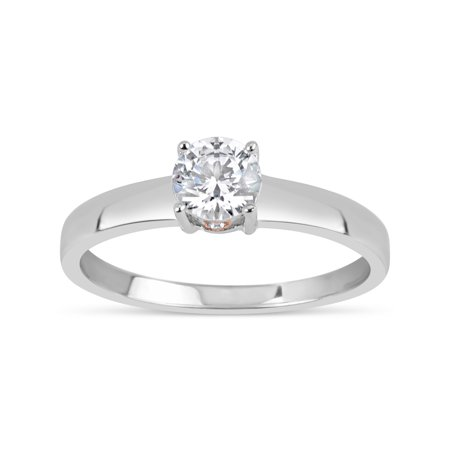 34ae49bc0 5mm White Round Swarovski CZ Sterling Silver Two-Tone Rhodium and 18kt Rose  Gold-Plated Filigree Sides Gradual Shank Ring - Walmart.com
