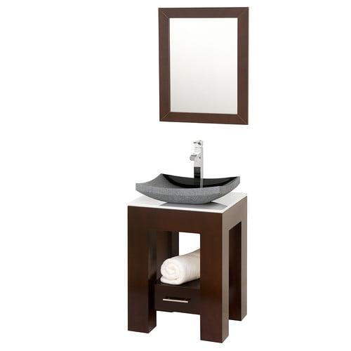Wyndham Collection Amanda 22 inch Single Bathroom Vanity in Espresso, White Man-Made Stone Countertop, Altair Black Granite Sink, and 22 inch Mirror
