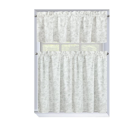 Regal Home Collections Amelia Floral Kitchen Curtain Tier & Valance Set - Assorted