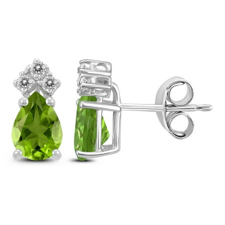 Genuine 1.64 Carat Natural 7x5mm Pear Shaped Peridot With White Topaz Earrings In 925 Sterling Silver.