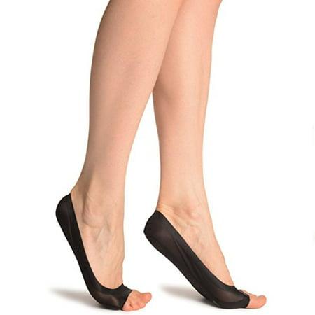 Non-Slip Heel Women's Peep Toe Socks With Silicon Grip Footies - Toe Footies