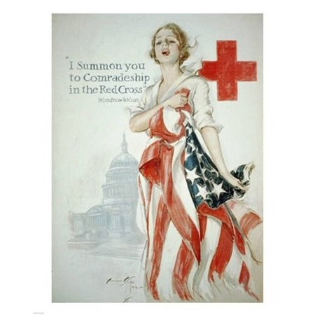 Harrison Fisher WWI American Red Cross Poster Stretched Canvas -  (8 x 10)