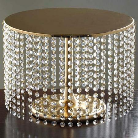 (Efavormart Gold Breathtaking Crystal Pendants Metal Chandelier Wedding Birthday Party Dessert Cake Pedestal Display Plate)