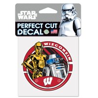 """NCAA University of Wisconsin 15653215 Perfect Cut Color Decal, 4"""" x 4"""", Black"""