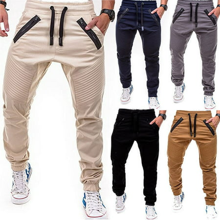 Black Straight Leg Trousers - Men's Slim Fit Urban Straight Leg Trousers Casual Pencil Jogger Cargo Pants