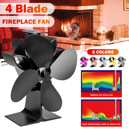 7.6'' 1100RPM Silent 4 Blades Stove Fan Fireplace Fire Heat Powered Saving Eco Fan ()