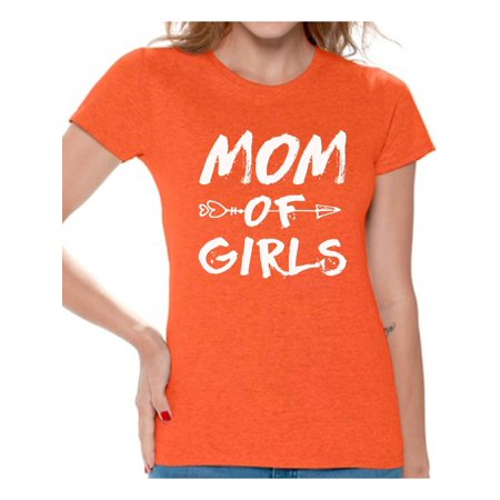 Awkward Styles Women's Mom of Girls Arrow Mother's Day Graphic T-shirt Tops White Motherhood New Mom