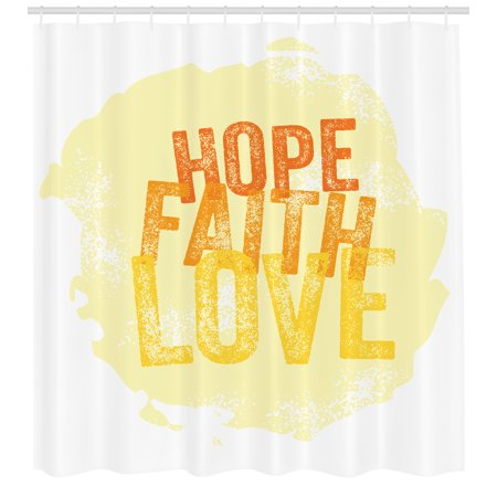 Hope Shower Curtain Inspirational Religious Faith Love Quote With Grunge Letters Fabric Bathroom